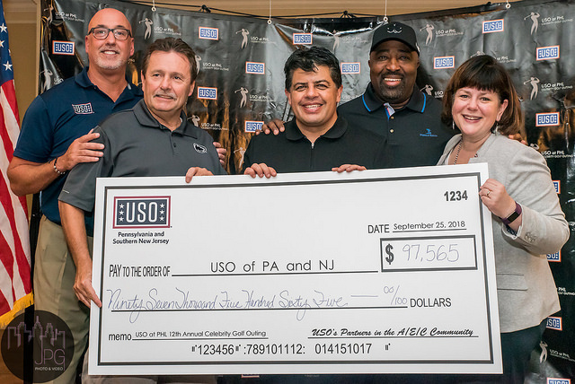 Joseph Brooks ( President/CEO of USO of Pennsylvania and Southern New Jersey ),  James Tyrrell  (Chief Review Officer of PHL),  Manik Arora  (President/CEO of Arora Engineers),  Clarence LeJeune ( President/CEO of LeJeune and Associates ) and Chellie Cameron ( CEO of PHL ) presenting the Annual Golf Outing Check to the USO.