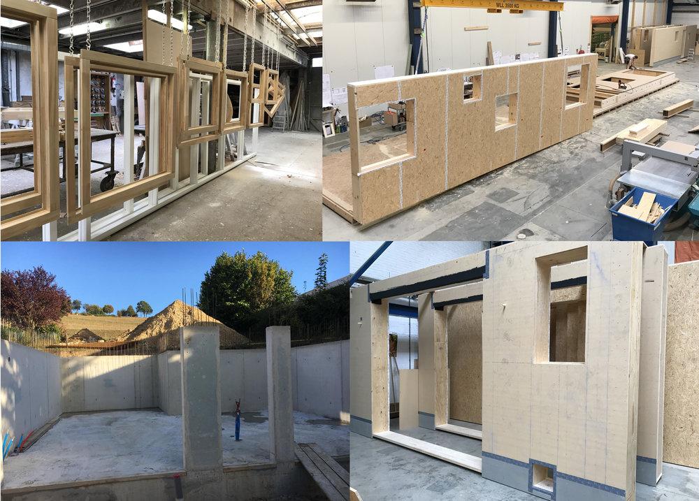 Op 3 verschillende plekken wordt er hard gewerkt. De bouwplaats, kozijnwerkplaats & houtbouw werkplaats, Living Sequoia.