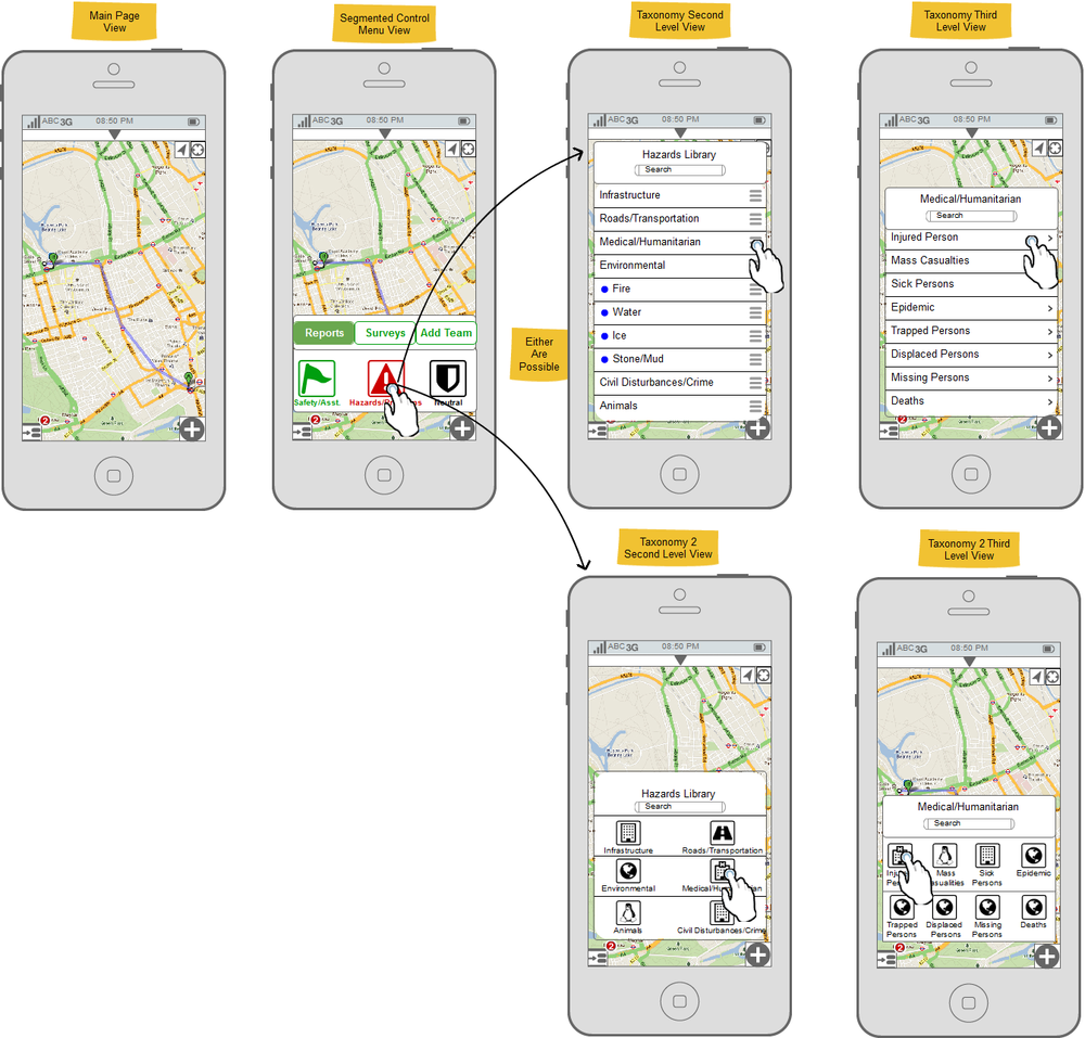Prototype display diagramming the mobile data collection tool: AREA. This tool went through an extensive design and testing process to ensure the data was rich, accurate, and accessible to a niche and extremely technical group of users.