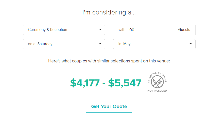 A tool devised to help couples plan by calculating average pricing and availability information for a given vendor.