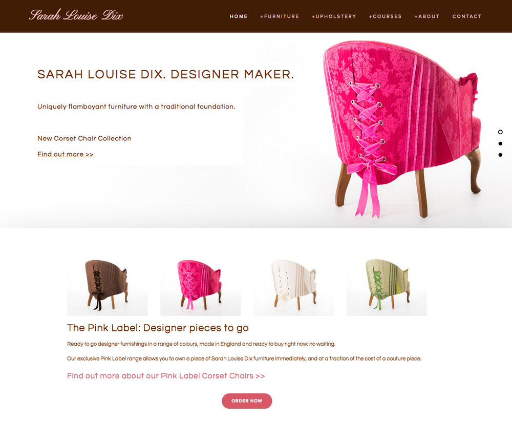 A gorgeous new website for a talented couture upholsterer - www.sarahlouisedix.co.uk