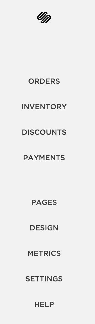 Commerce menu interface