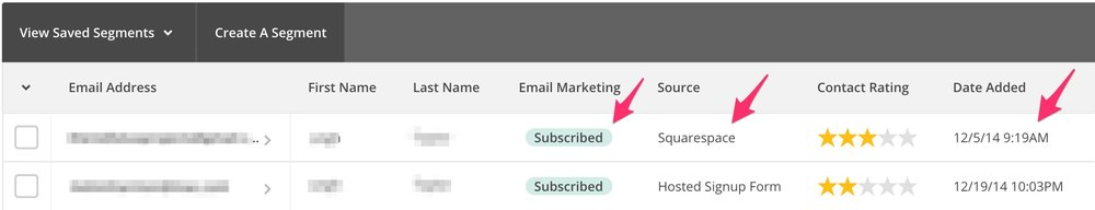 The MailChimp List screen shows the status of the user, what source they used to subscribe, and the date/time stamp of their subscription