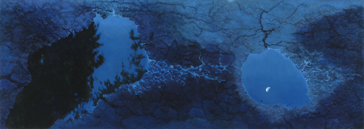 "Moonlight Puddles  31x87""  2006"