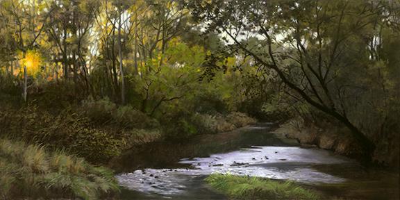 "Ferson Creek Sunrise Oct 13  15x30"" 2016(Sold)"