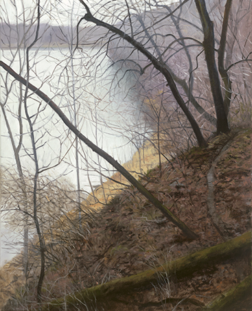 "Fox River Below Silver Springs State Park Bluffs Feb 7  20x16""  2017 (sold)"