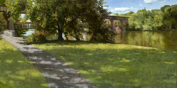 "Fox River Island Park Geneva Sept. 2 _ 15x30""_ 2016 (sold)"