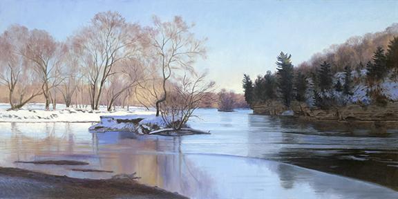 "Indian Creek/Fox River Confluence Feb 9  15x30""  2017 (sold)"