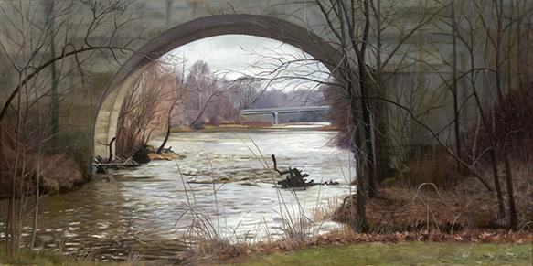 "January Thaw on Big Rock Creek  15x30""  2017 (Sold)"