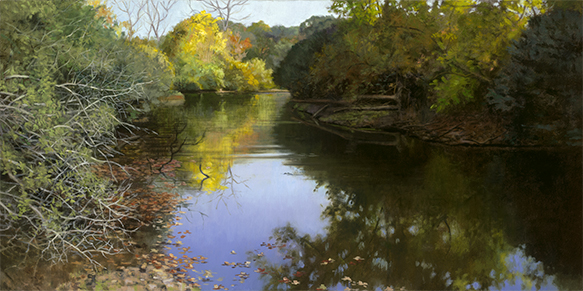 """Toward the Mouth of Mill Creek Oct 18  15x30"""" 2016 (sold)"""