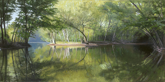 """Between Islands at Les Arends Forest Preserve  12x24"""" 2017"""