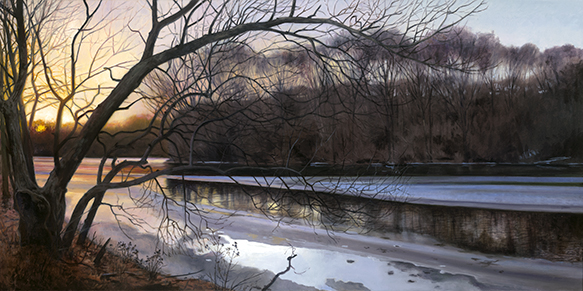 "Jan. 2 Lippold Park Sunset 18x36"" 2017 (sold)"