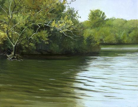 "Fox River Below Red Oak Nature Center, 11x14"" - 2017"