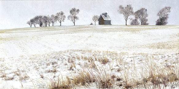 "Fox Valley Landscape, Feb 8, 12x24"" _ 2017 (sold)"