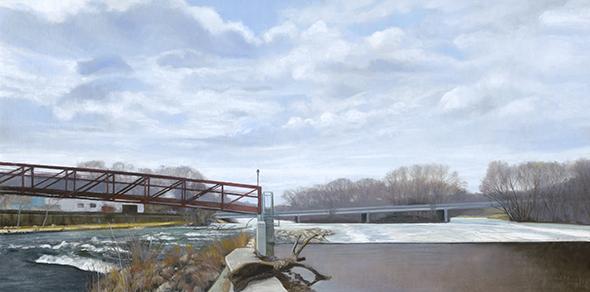 """Yorkville Dam, Feb 28, 15x30"""" _ 2018"""