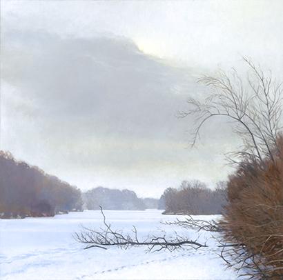 """Frozen Fox River, Jan 9, 20x20"""" - 2018"""