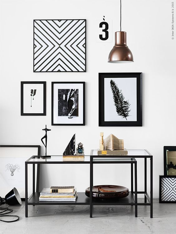 IKEA Nesting tables used to showcase your knick knacks and artwork; Image via IKEA & Pinterest
