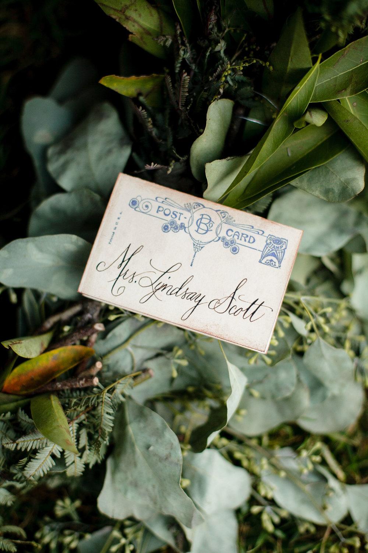 Vintage namecard Napa Wedding tablescape