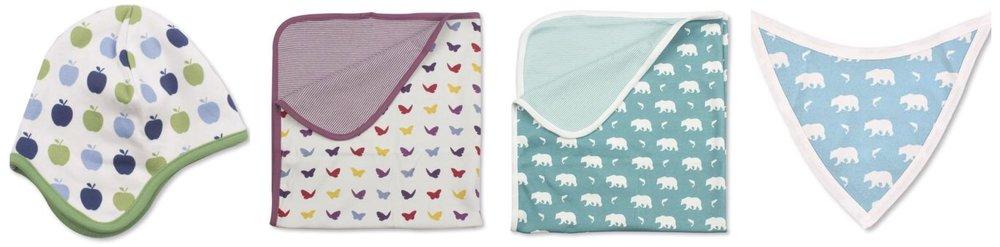 Jazzy Organics baby blankets, bibs and hats