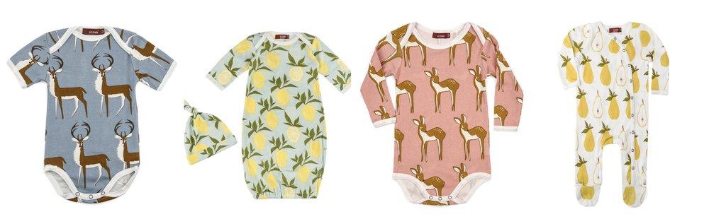 MIlkbarn organic baby onesies, pajamas, sleep gowns and bodysuits