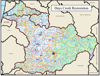 Days Creek Map