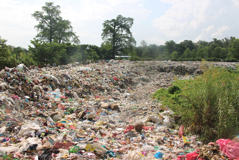 Photo of a public dump site in Chitwan National Forest