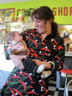 Aliya, CNM with Koby, the very first baby she supported earthside.