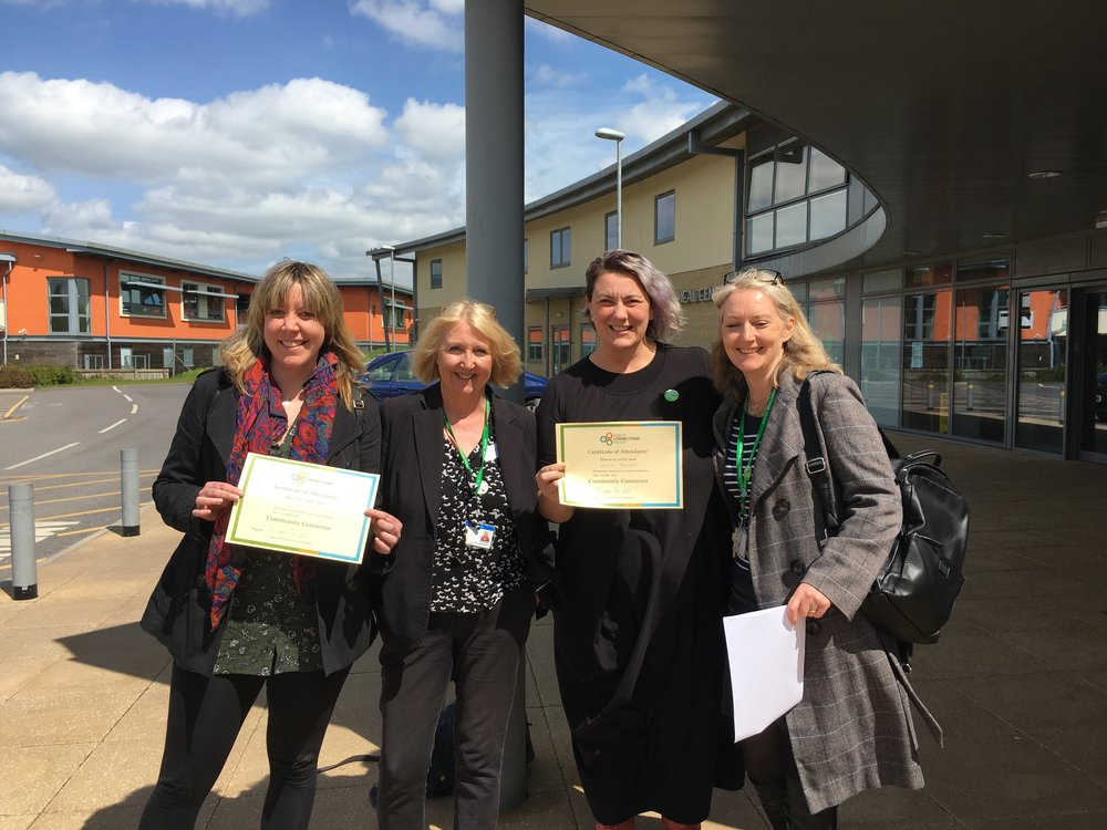 Photo shows Kerrie Noonan (3rd left to right)  and Holly Rankin - Smith (first left to right) from Groundswell, Australia after they were trained by Julie Carey - Downes as the first international Community Connectors in Frome, along with Jenny Hartnoll, lead for Health Connections Mendip