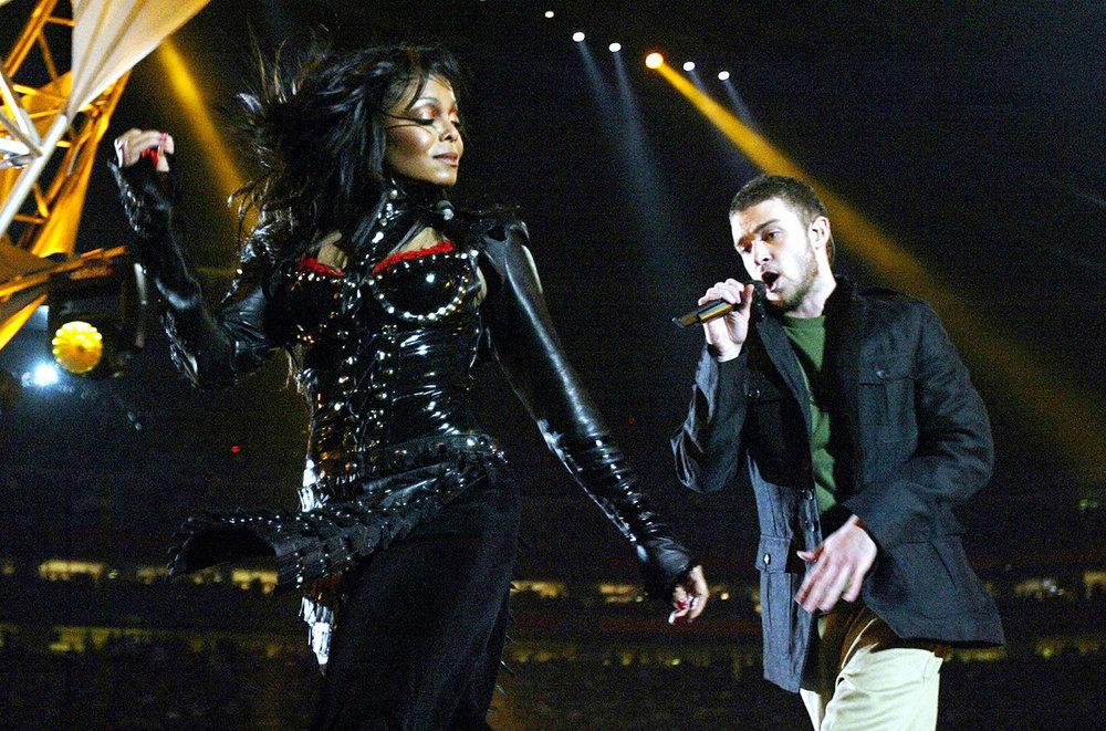 Janet Jackson y Justin Timberlake en el medio tiempo del Super Tazón XXXVIII