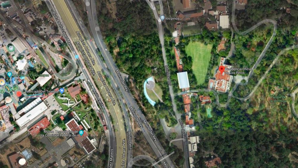 Los Pinos vía Google Maps