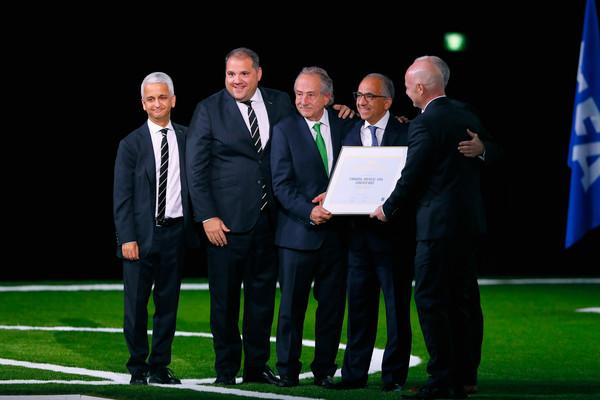 Infantino, Decio, Reed y Cordeiro celebran la próxima organización conjunta del mundial en 2026.