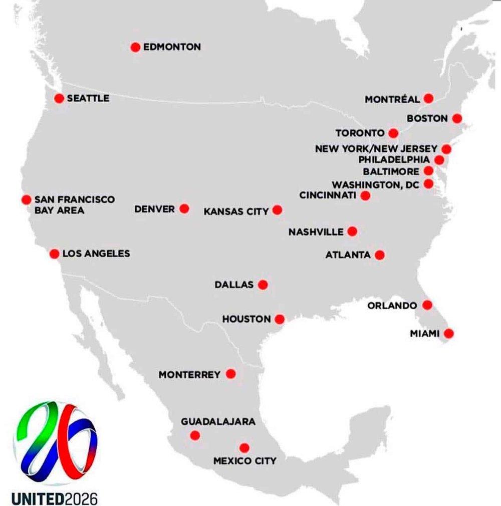 Mapa de estadios para Mundial 2026. Vía El Horizonte