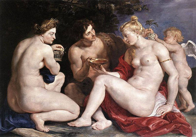 Peter Paul Rubens, Venus, Cupid, Bacchus and Ceres, 1612–13. Foto vía: Wikimedia Commons