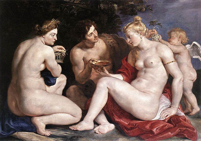 Peter Paul Rubens, Venus, Cupid, Bacchus and Ceres, 1612–13. Foto vía: Wikimedia Commons