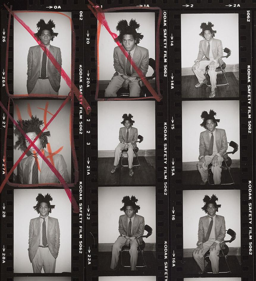 Detail from Contact Sheet [Jean-Michel Basquiat photo shoot for Polaroid portrait; Andy Warhol, Bruno Bischofberger], 1982, by Andy Warhol, gelatin silver print.