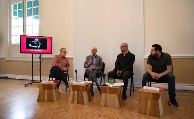 De izquierda a derecha:  David Huerta, Jorge Volpi, José Wolffer y Danger . Imagen vía  @CasadelLago
