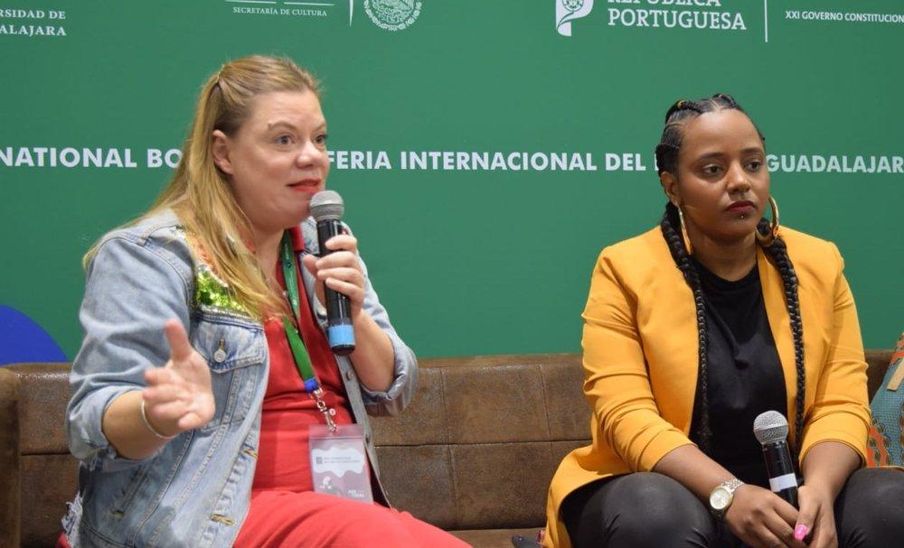 Capicua y Eva Rapdiva en conferencia de prensa  Foto: Ximena Manjarrez