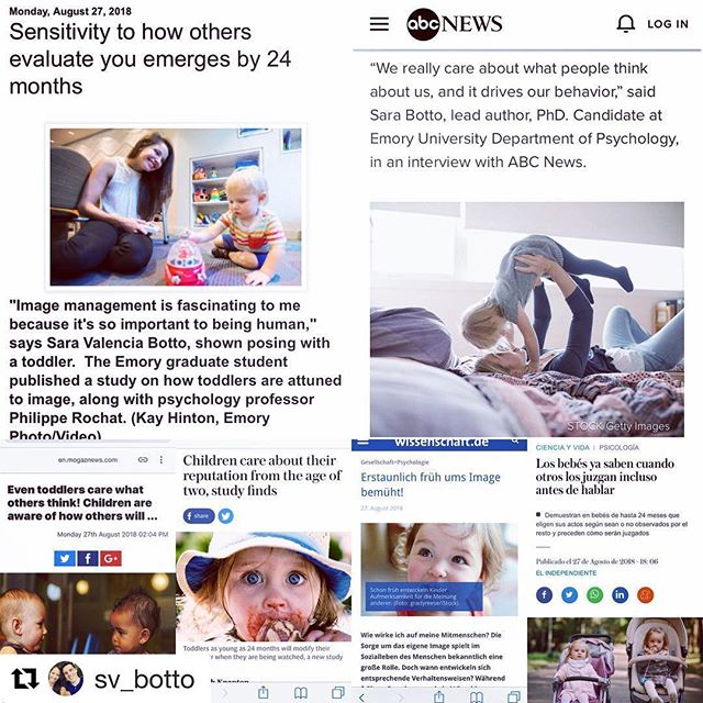 Sara's research was picked up by various news outlets around the world! We are so proud to call her our own 😘. Stay tuned for a new blog post coming out this week!  Repost @sv_botto ・・・ Humbling to realize other people across the world think my research is as cool as I do 🤓. ps: don't believe everything you read 😂 . . . #psychology #Emory #phdlife #research #childresearch #cognitvescience #APA #glorytogod