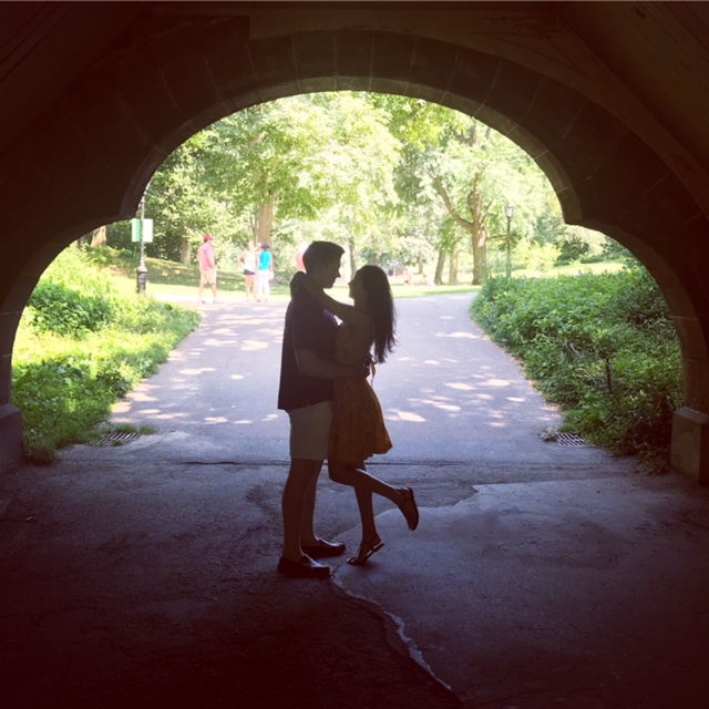 Faking a romantic photo at Central Park, NYC.