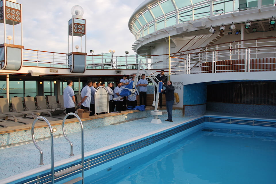 Carnival Cruise staff receiving pool hoist training
