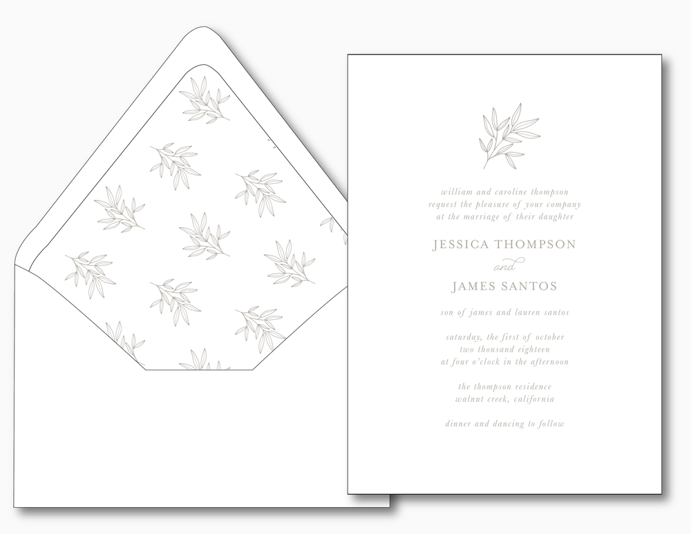 Romantic Taupe Wedding Invitation