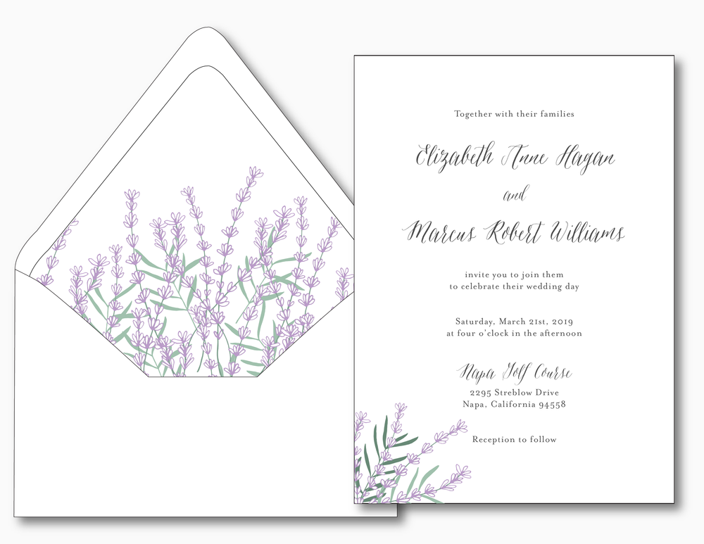 Lavender Floral Wedding Invitation