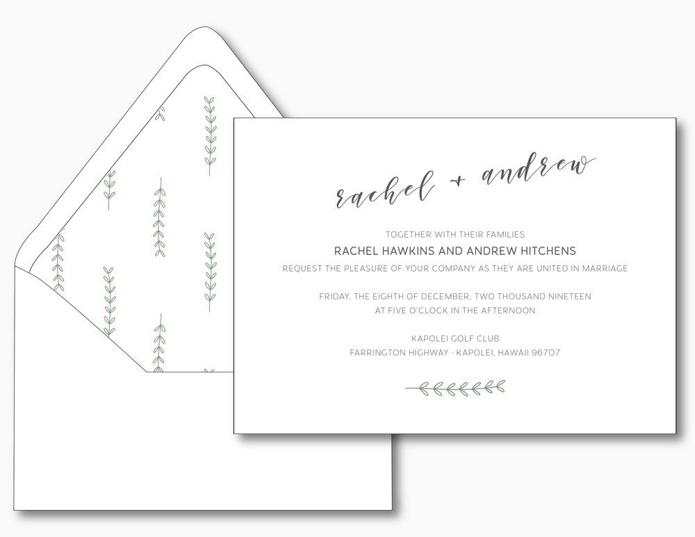 Simple Organic Wedding Invitation
