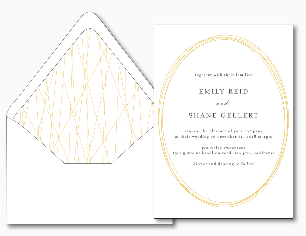 Gold Modern Oval Wedding Invitation