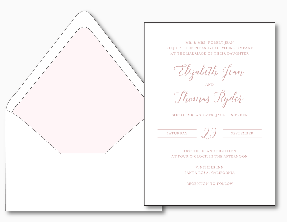 Mauve & Blush Wedding Invitation