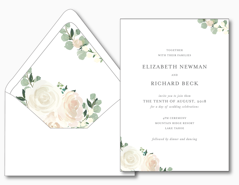 Elegant Blush Floral Wedding Invitation