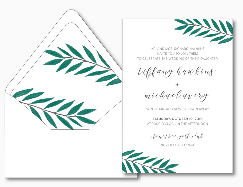 Emerald Green Leaf Wedding Invitation