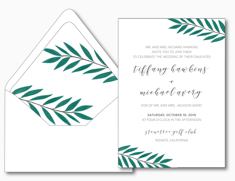 Emerald Green Leaf Wedding Invitation Just Jurf Designs