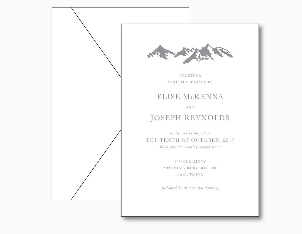 Minimalist Mountain Wedding Invitation