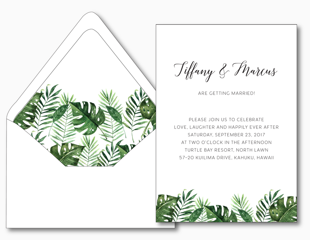 Tropical Palm Leaf Wedding Invitation